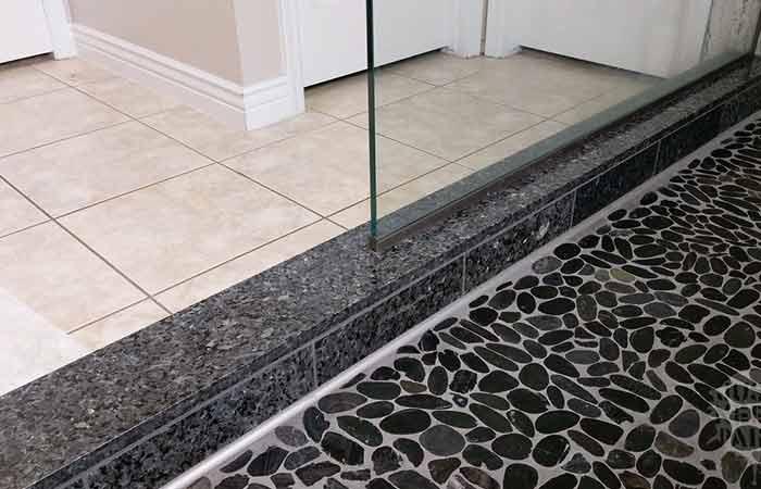 dark pebble shower floor