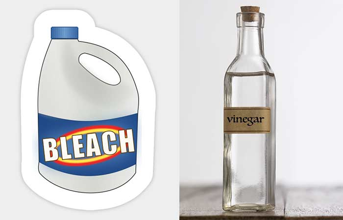 Bleach or vinegar to disinfect and clean under toilet rim