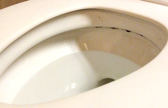 How to clean black stuff/ring under toilet rim