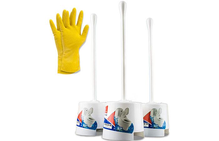Toilet Bowl scrubber brush, holder and gloves