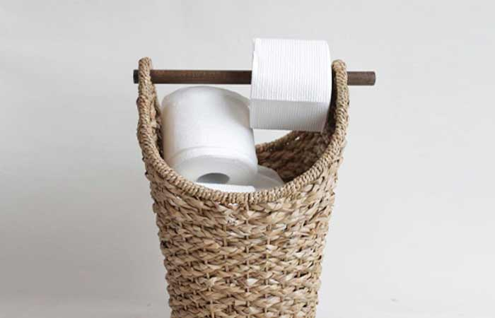 Baket with Rolling rod for toilet paper storage