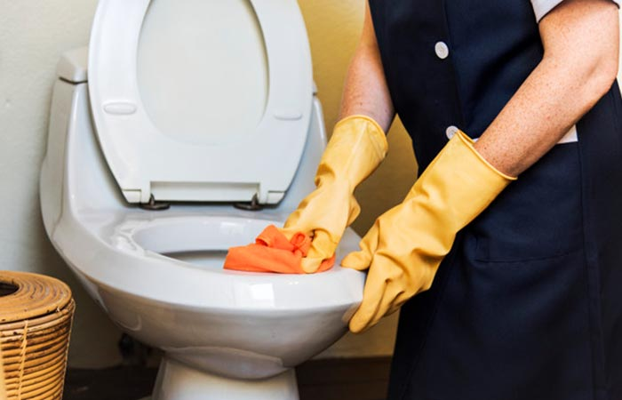 Toilet bowl inside cleaning