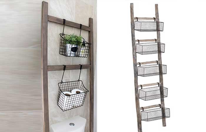 Wooden Ladder wire hanger Toilet storage