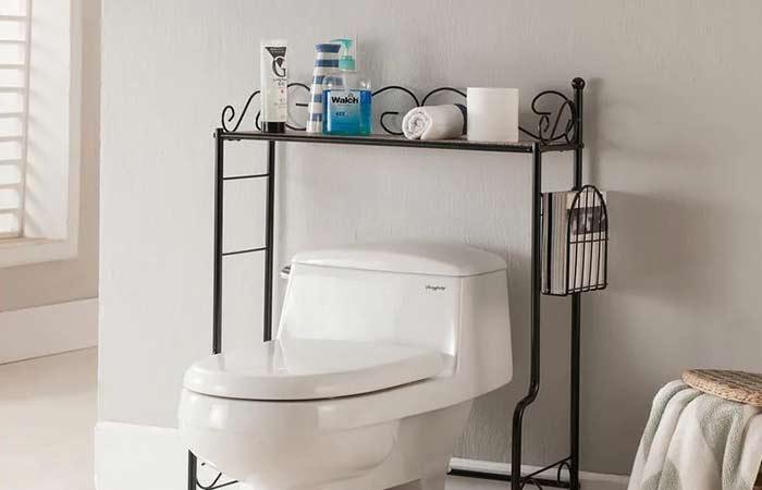 Over the toilet rack for tp holder storage